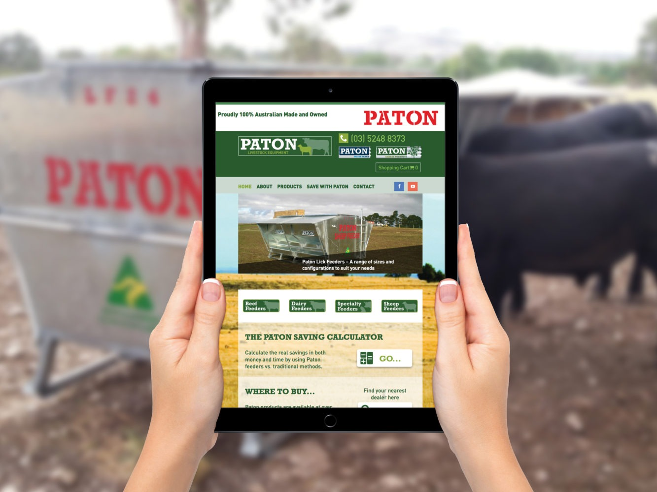 Paton Livestock Equipment rural website home page