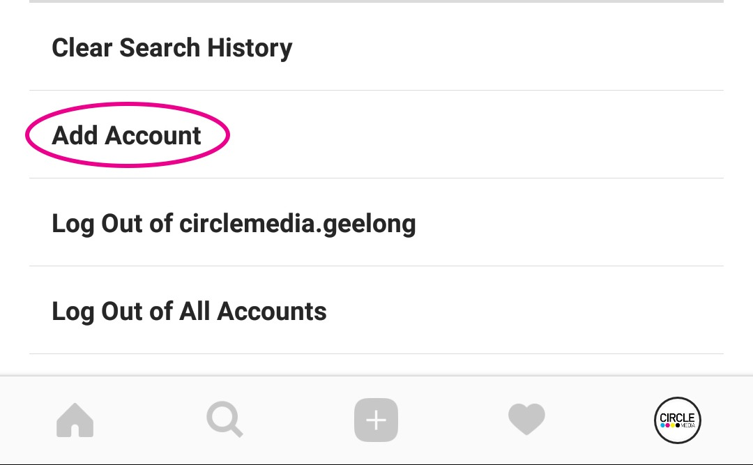 Adding an extra account in Instagram accounts