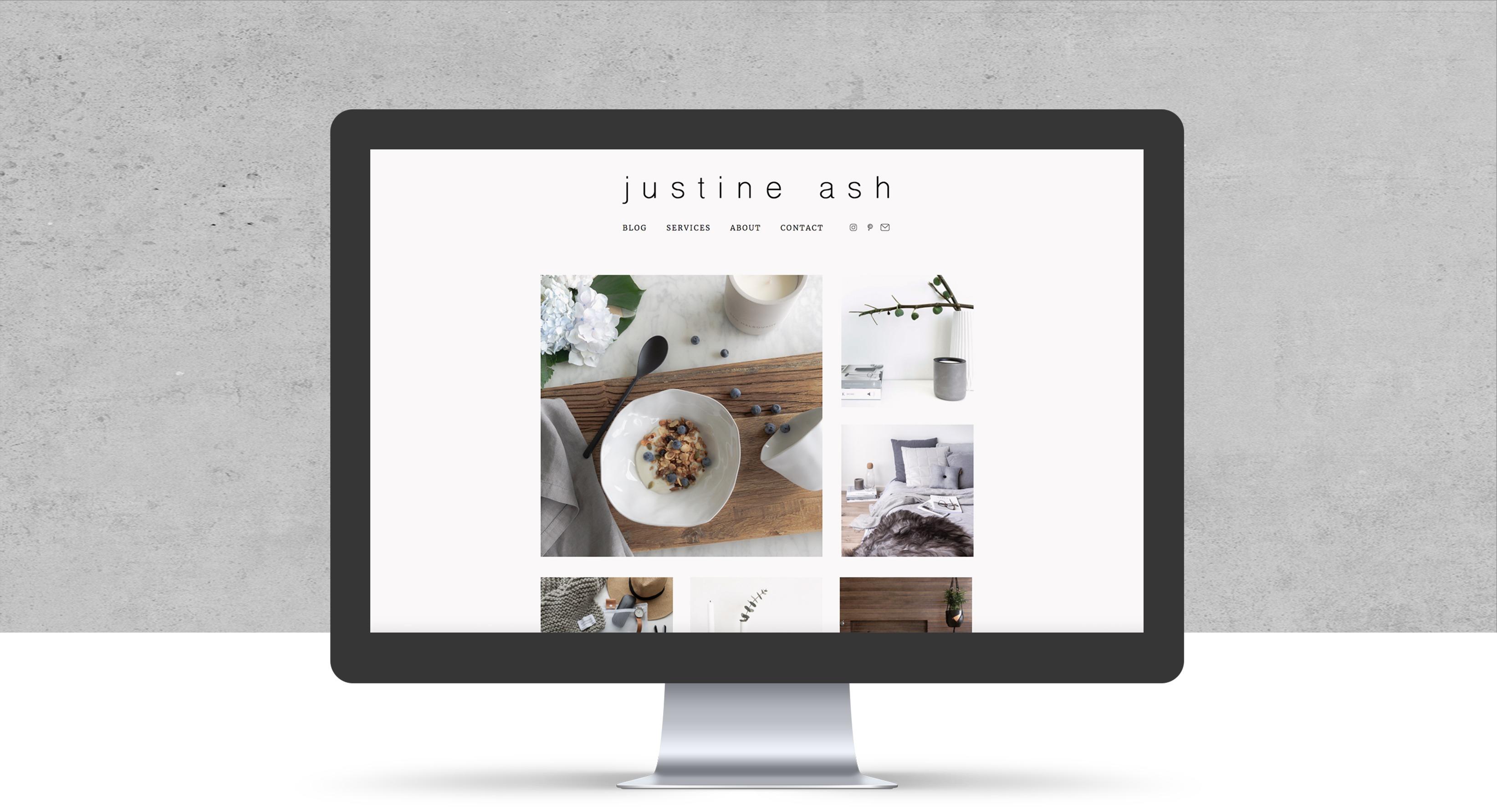 Justine Ash website design home page